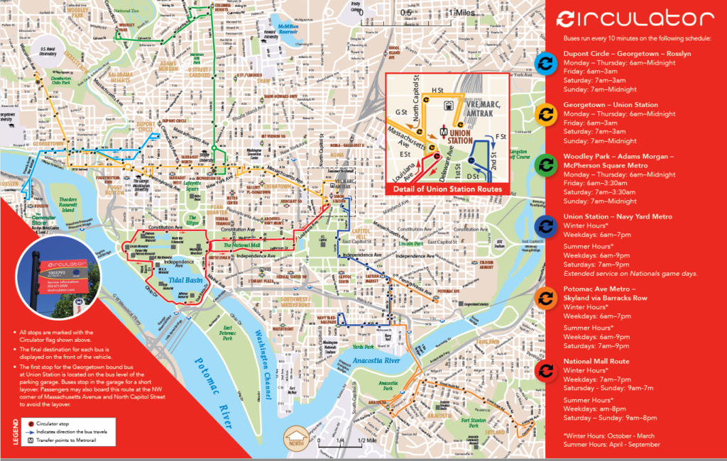 Circulator Map and Information Guide Washington DC Circulator