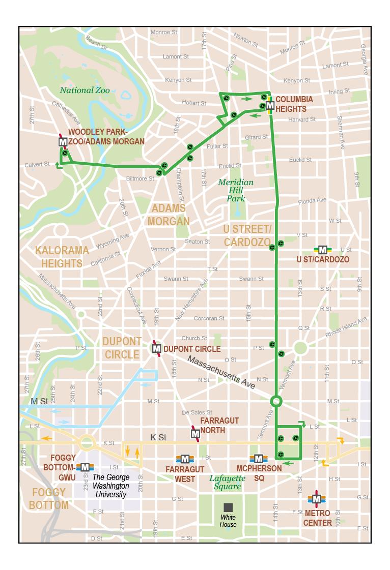Adams Morgan Dc Map.Woodley Park Adams Morgan Mcpherson Square Metro Washington D C