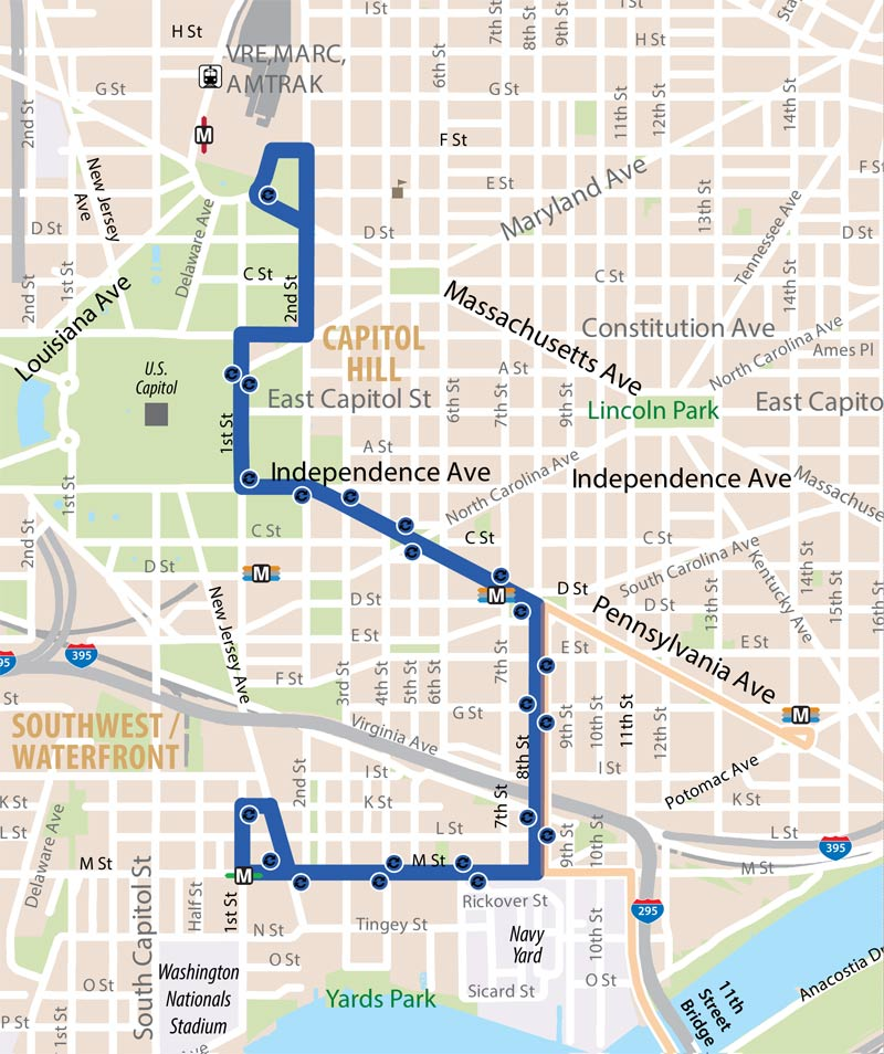 DC Circulator Union Station - Navy Yard Route Map