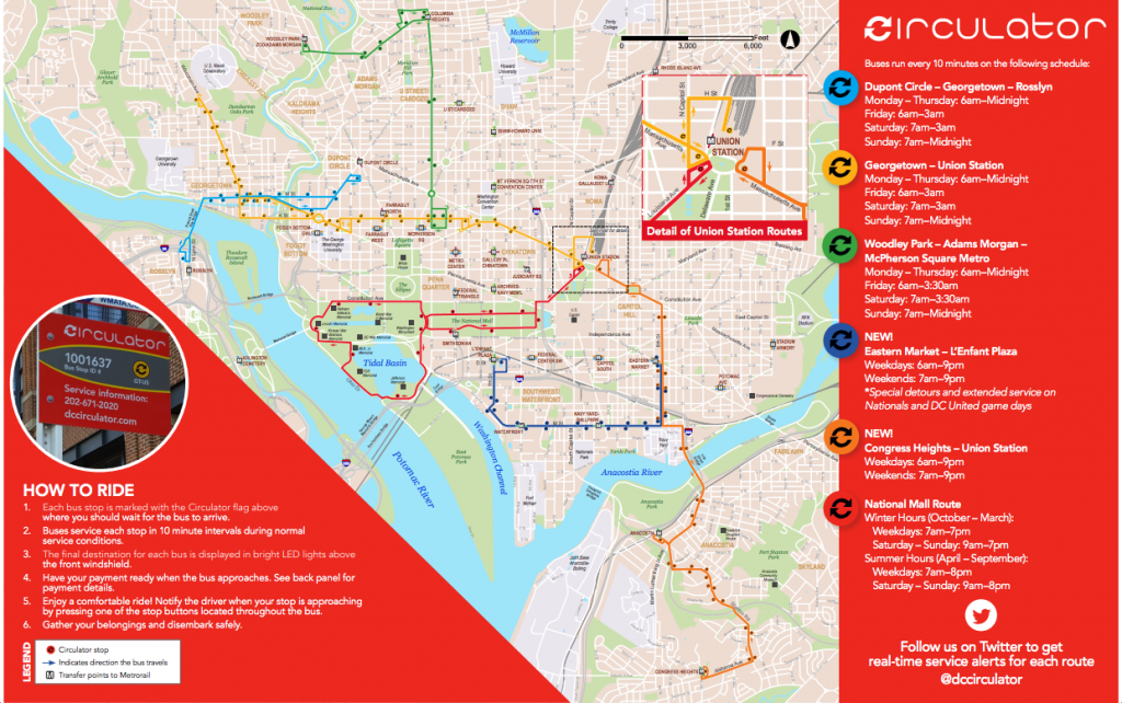Bajar Subway Map De Ny.Circulator Map And Information Guide Washington D C Circulator