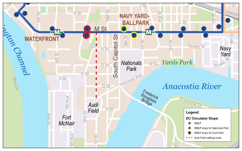 Map of Game Day Service Route