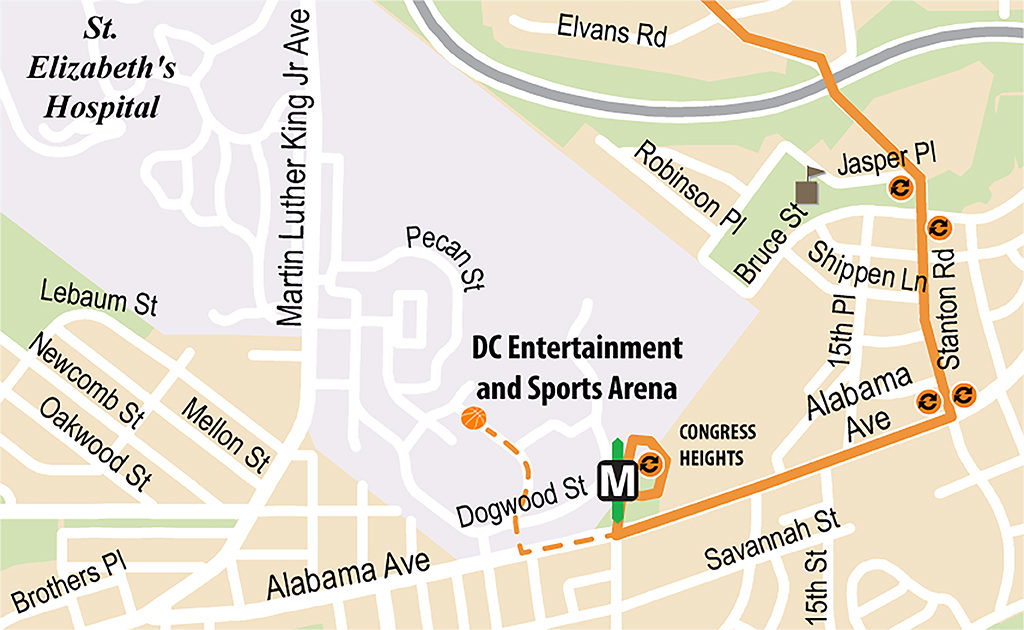 Map of Mystics Game Day Route