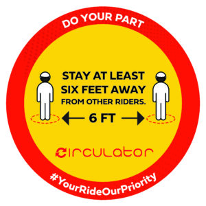 Sign for Stay at Least 6 Feet Away from Other Riders